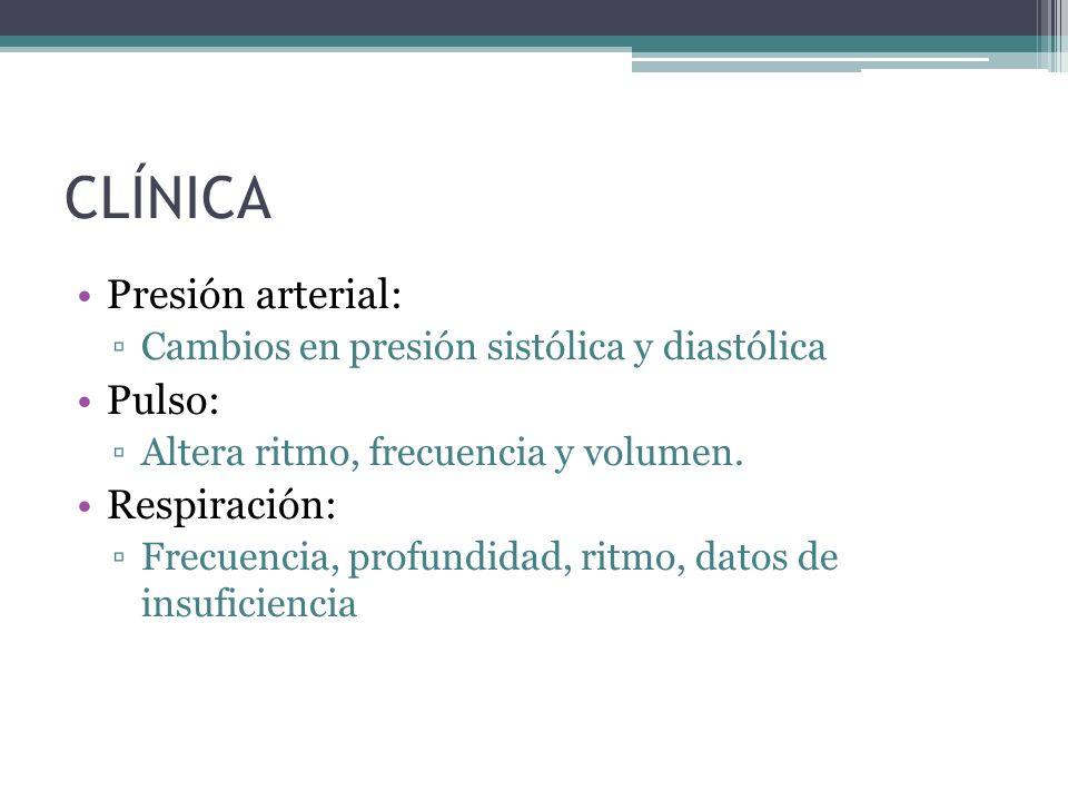 CLÍNICA Presión arterial: Cambios en presión sistólica y diastólica Pulso: Altera ritmo, frecuencia y volumen. Respiración: Frecuencia, profundidad, r
