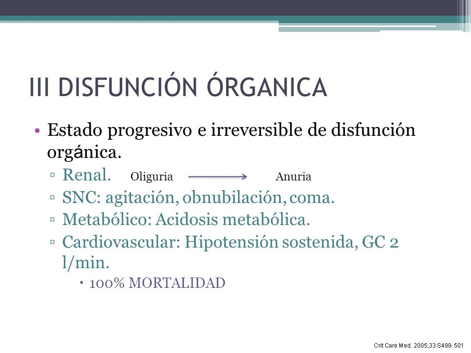 III DISFUNCIÓN ÓRGANICA Estado progresivo e irreversible de disfunción org á nica. Renal. SNC: agitación, obnubilación, coma. Metabólico: Acidosis met