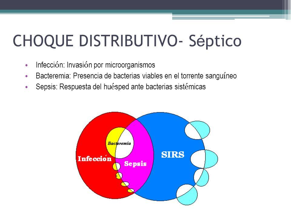 CHOQUE DISTRIBUTIVO- S é ptico Infecci ó n: Invasi ó n por microorganismos Bacteremia: Presencia de bacterias viables en el torrente sangu í neo Sepsi