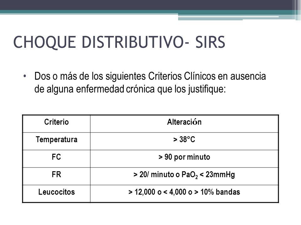 CHOQUE DISTRIBUTIVO- SIRS CriterioAlteraci ó n Temperatura> 38°C FC> 90 por minuto FR> 20/ minuto o PaO 2 < 23mmHg Leucocitos> 12,000 o 10% bandas Dos