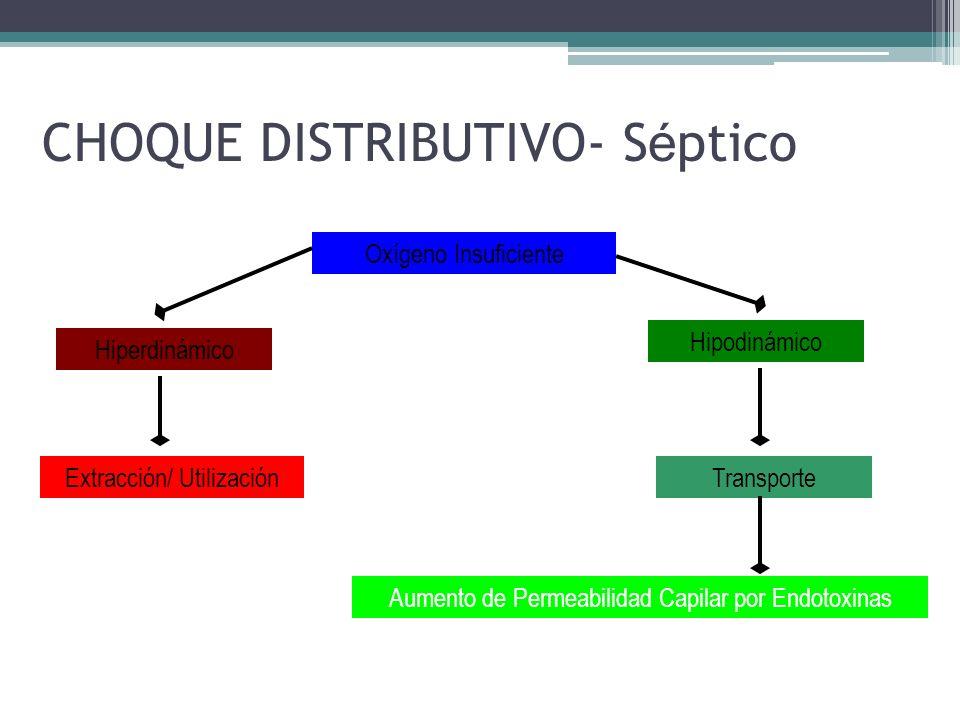 CHOQUE DISTRIBUTIVO- S é ptico Oxígeno Insuficiente Hipodinámico Hiperdinámico TransporteExtracción/ Utilización Aumento de Permeabilidad Capilar por
