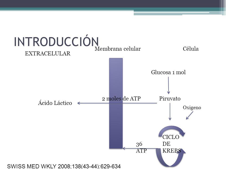 INTRODUCCIÓN EXTRACELULAR Membrana celularCélula Glucosa 1 mol Piruvato Ácido Láctico 2 moles de ATP Oxigeno CICLO DE KREBS 36 ATP SWISS MED WKLY 2008