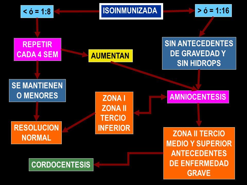 ISOINMUNIZADA < ó = 1:8 > ó = 1:16 REPETIR CADA 4 SEM SE MANTIENEN O MENORES RESOLUCION NORMAL SIN ANTECEDENTES DE GRAVEDAD Y SIN HIDROPS AUMENTAN AMN
