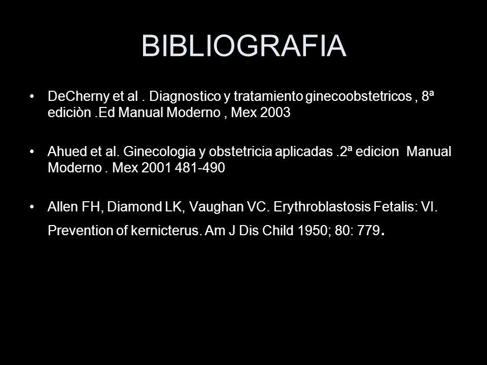 BIBLIOGRAFIA DeCherny et al. Diagnostico y tratamiento ginecoobstetricos, 8ª ediciòn.Ed Manual Moderno, Mex 2003 Ahued et al. Ginecologia y obstetrici