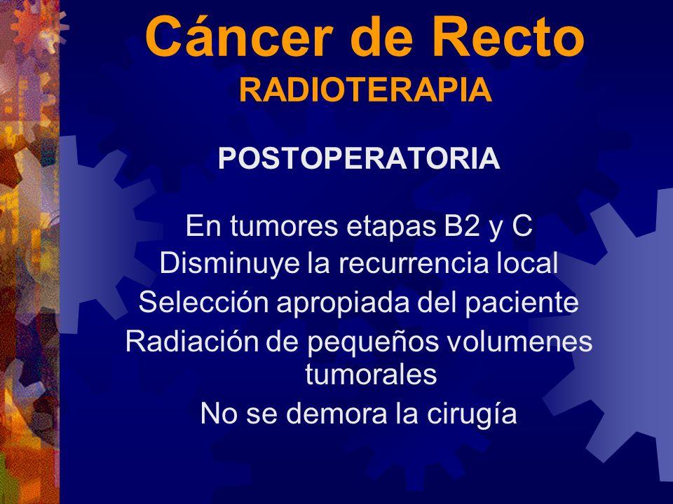 Cáncer de Recto RADIOTERAPIA POSTOPERATORIA En tumores etapas B2 y C Disminuye la recurrencia local Selección apropiada del paciente Radiación de pequ