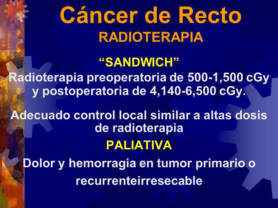 Cáncer de Recto RADIOTERAPIA SANDWICH Radioterapia preoperatoria de 500-1,500 cGy y postoperatoria de 4,140-6,500 cGy. Adecuado control local similar