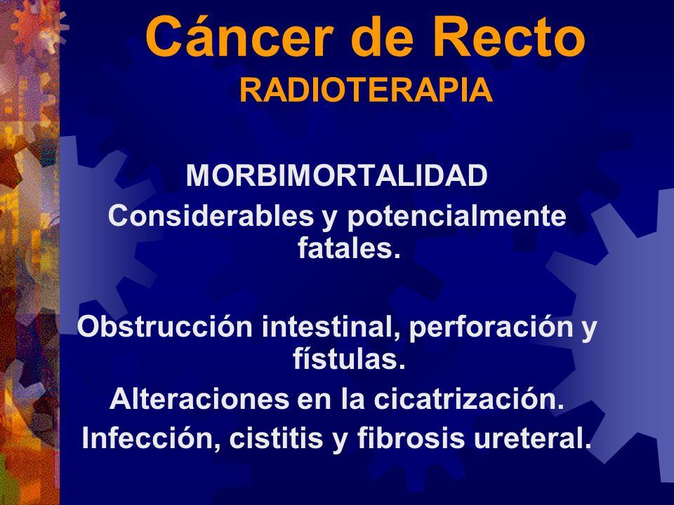 Cáncer de Recto RADIOTERAPIA MORBIMORTALIDAD Considerables y potencialmente fatales. Obstrucción intestinal, perforación y fístulas. Alteraciones en l