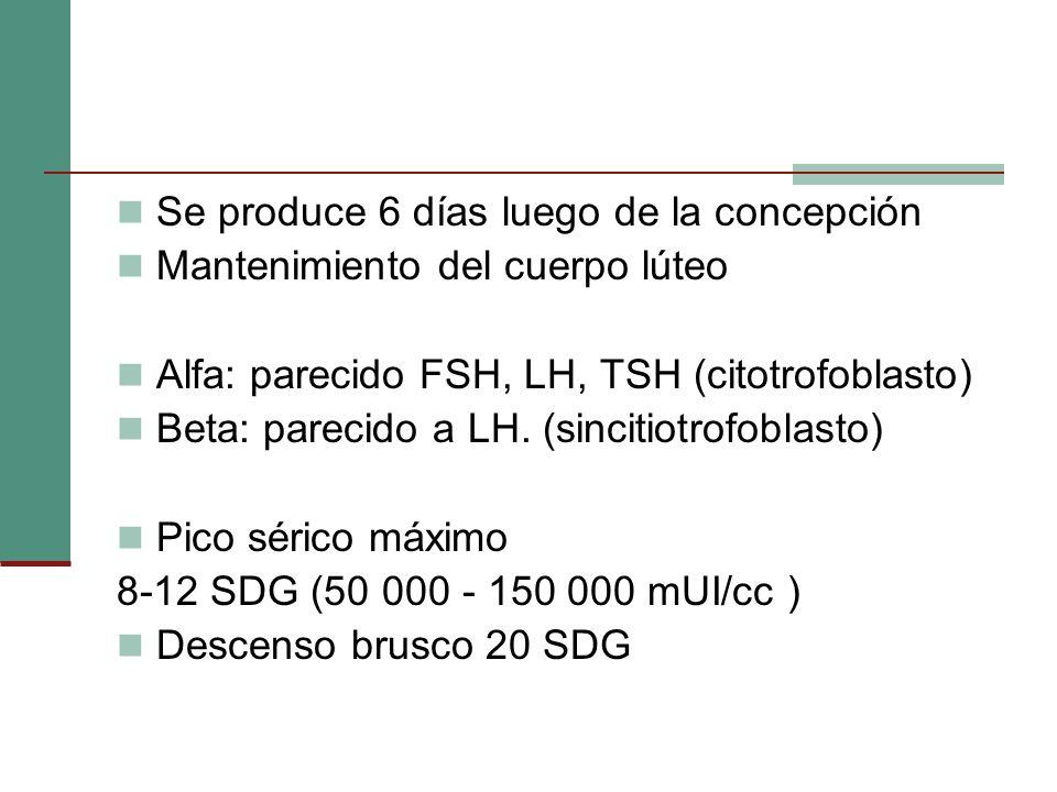 Se produce 6 días luego de la concepción Mantenimiento del cuerpo lúteo Alfa: parecido FSH, LH, TSH (citotrofoblasto) Beta: parecido a LH. (sincitiotr