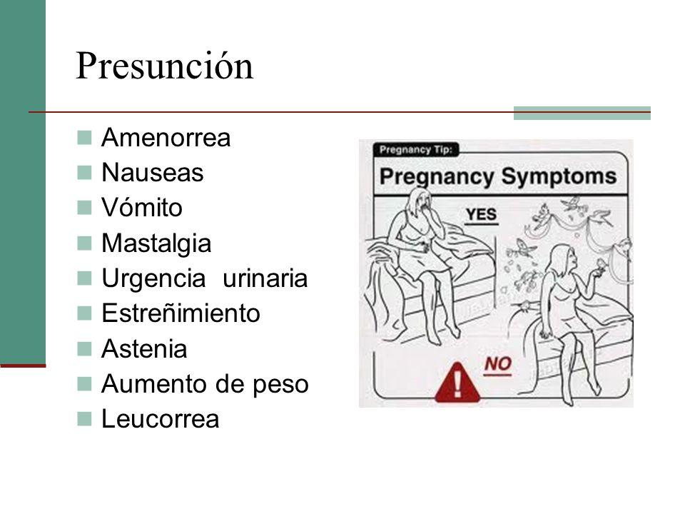 Presunción Amenorrea Nauseas Vómito Mastalgia Urgencia urinaria Estreñimiento Astenia Aumento de peso Leucorrea