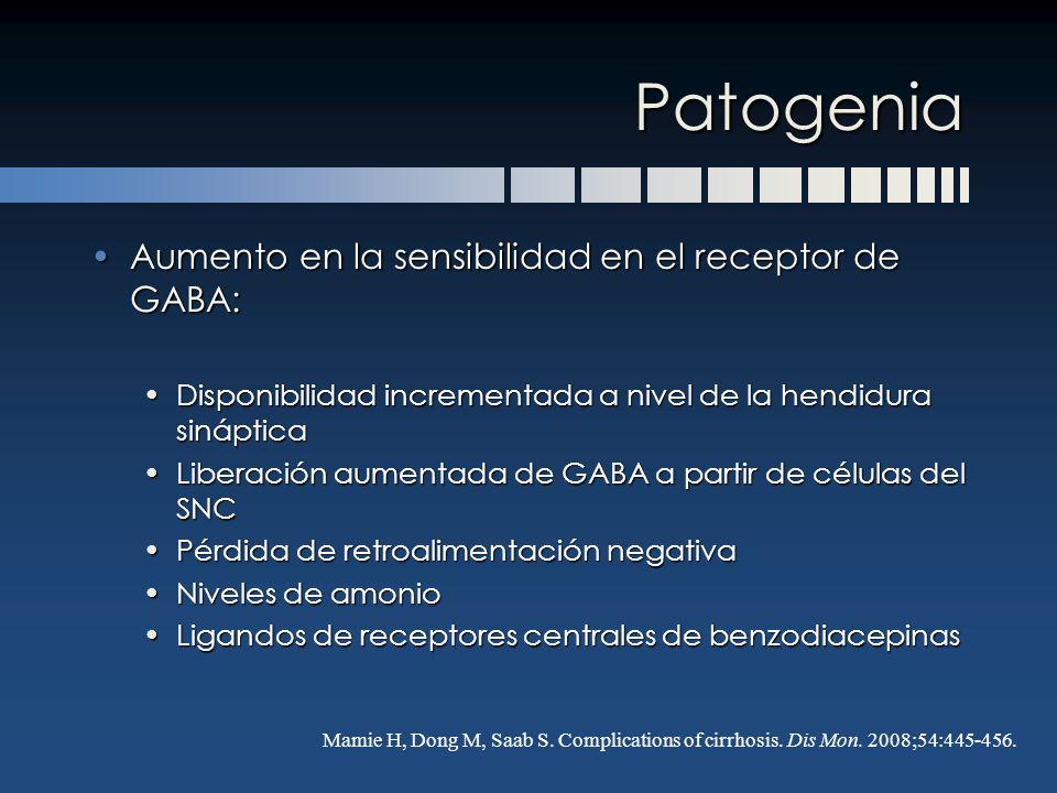 Patogenia Aumento en la sensibilidad en el receptor de GABA:Aumento en la sensibilidad en el receptor de GABA: Disponibilidad incrementada a nivel de