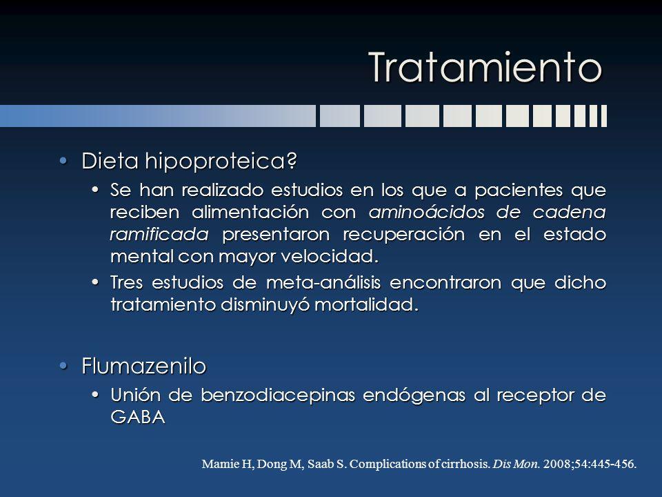 Tratamiento Dieta hipoproteica?Dieta hipoproteica? Se han realizado estudios en los que a pacientes que reciben alimentación con aminoácidos de cadena