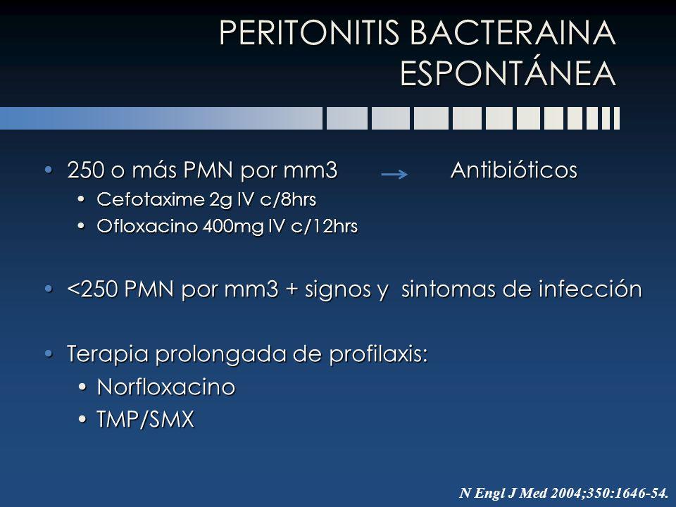 250 o más PMN por mm3 Antibióticos250 o más PMN por mm3 Antibióticos Cefotaxime 2g IV c/8hrsCefotaxime 2g IV c/8hrs Ofloxacino 400mg IV c/12hrsOfloxac