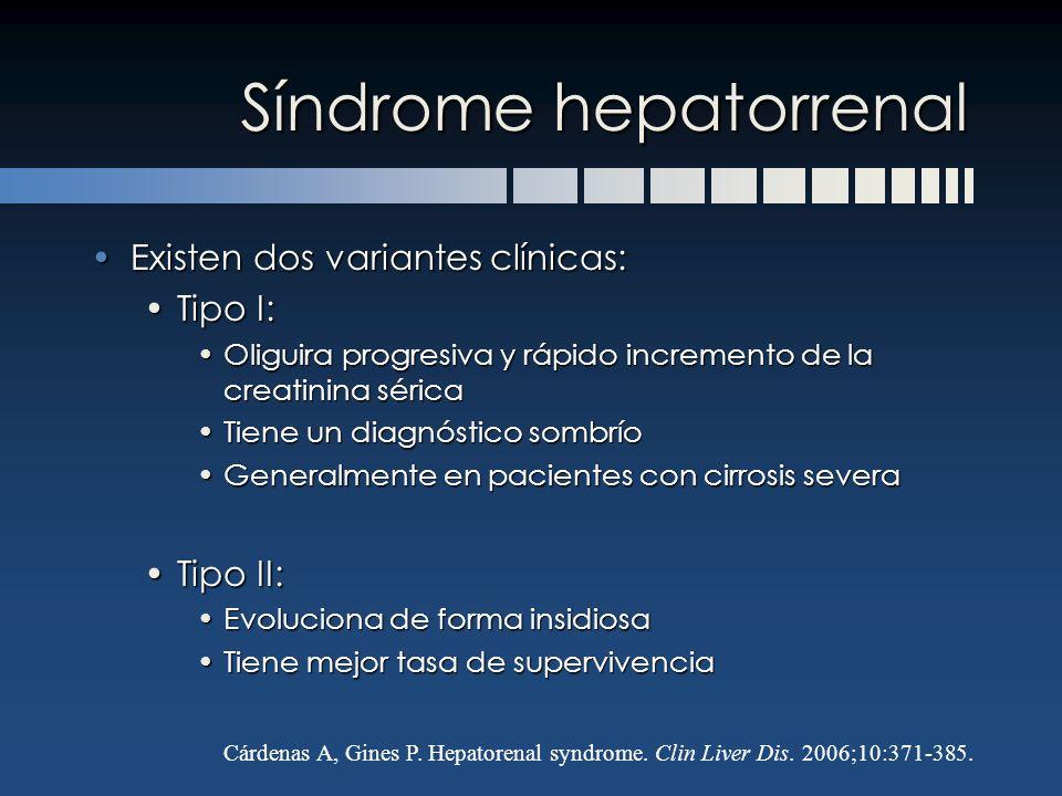 Síndrome hepatorrenal Existen dos variantes clínicas:Existen dos variantes clínicas: Tipo I:Tipo I: Oliguira progresiva y rápido incremento de la crea