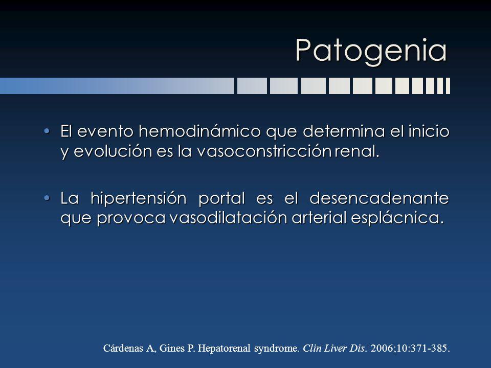 Patogenia El evento hemodinámico que determina el inicio y evolución es la vasoconstricción renal.El evento hemodinámico que determina el inicio y evo