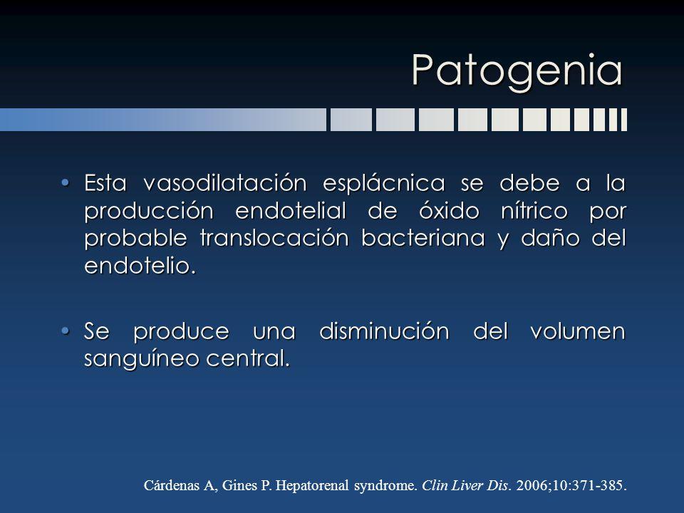 Patogenia Esta vasodilatación esplácnica se debe a la producción endotelial de óxido nítrico por probable translocación bacteriana y daño del endoteli