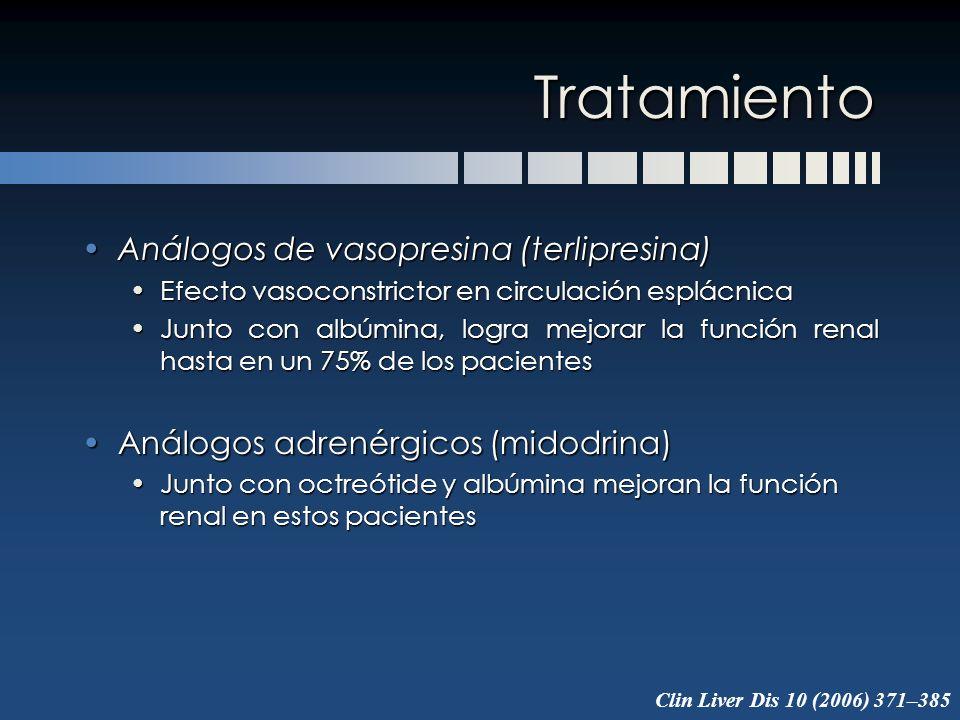 Tratamiento Análogos de vasopresina (terlipresina)Análogos de vasopresina (terlipresina) Efecto vasoconstrictor en circulación esplácnicaEfecto vasoco