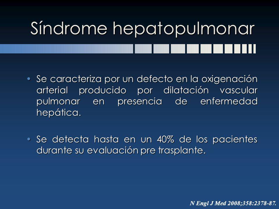 Síndrome hepatopulmonar Se caracteriza por un defecto en la oxigenación arterial producido por dilatación vascular pulmonar en presencia de enfermedad