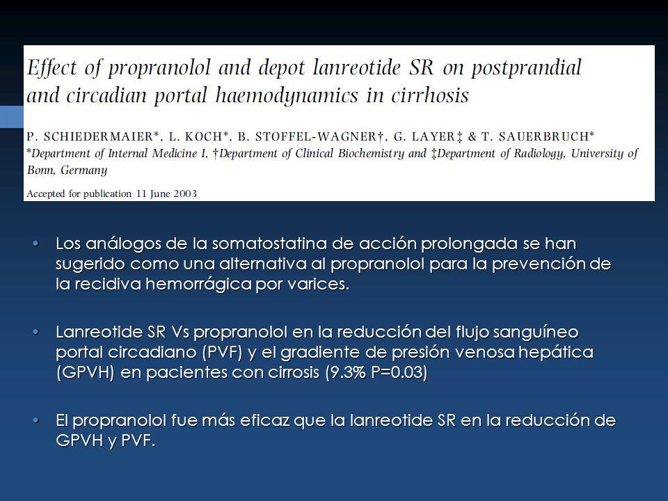 Los análogos de la somatostatina de acción prolongada se han sugerido como una alternativa al propranolol para la prevención de la recidiva hemorrágic