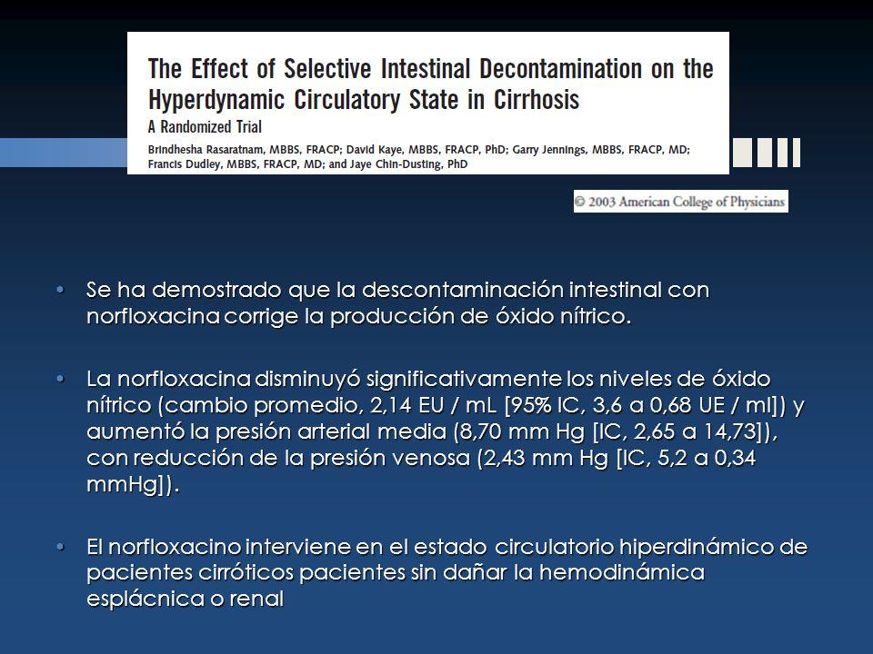 Se ha demostrado que la descontaminación intestinal con norfloxacina corrige la producción de óxido nítrico.Se ha demostrado que la descontaminación i