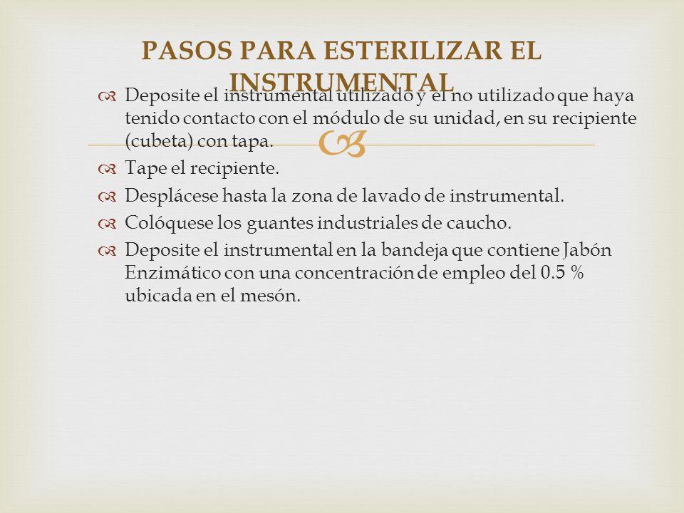 Deposite el instrumental utilizado y el no utilizado que haya tenido contacto con el módulo de su unidad, en su recipiente (cubeta) con tapa. Tape el