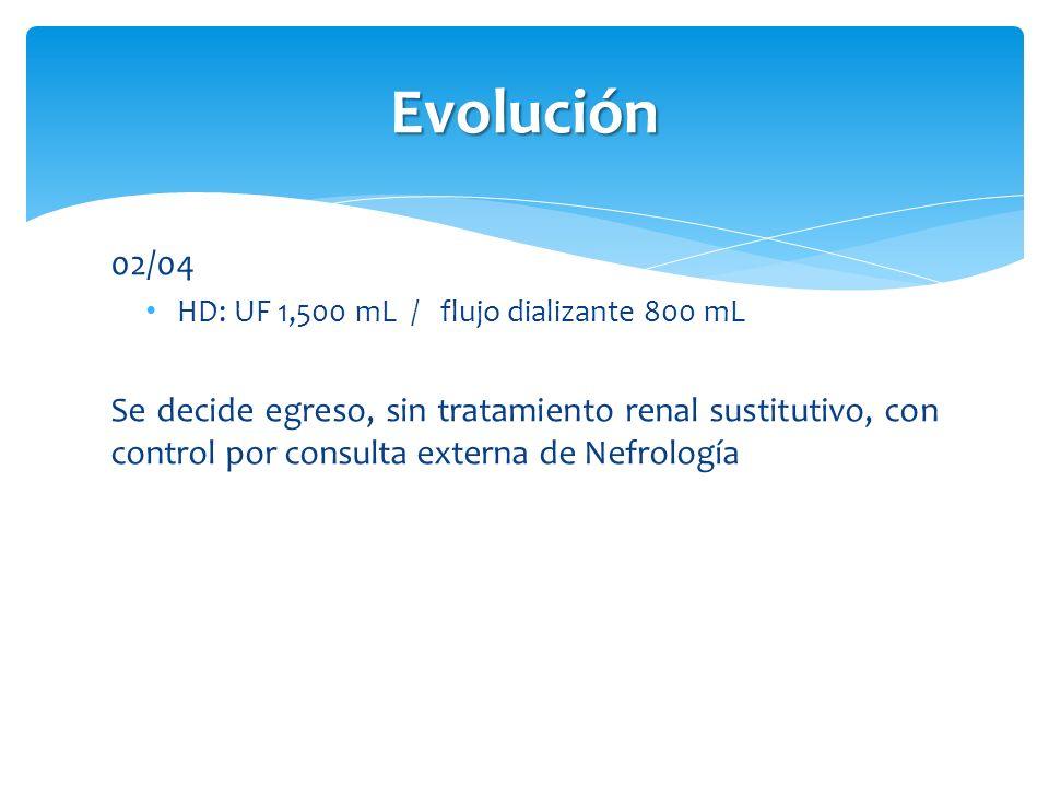 Evolución 02/04 HD: UF 1,500 mL / flujo dializante 800 mL Se decide egreso, sin tratamiento renal sustitutivo, con control por consulta externa de Nef