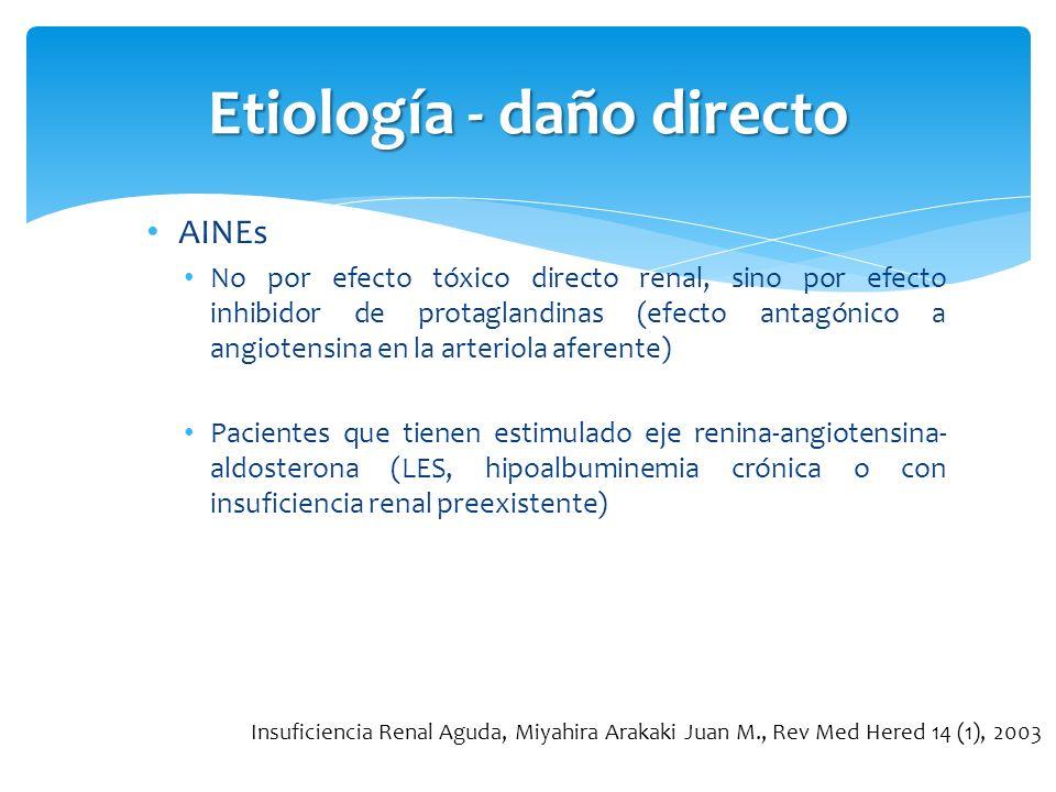 Etiología - daño directo AINEs No por efecto tóxico directo renal, sino por efecto inhibidor de protaglandinas (efecto antagónico a angiotensina en la
