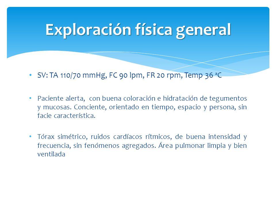 SV: TA 110/70 mmHg, FC 90 lpm, FR 20 rpm, Temp 36 ªC Paciente alerta, con buena coloración e hidratación de tegumentos y mucosas. Conciente, orientado