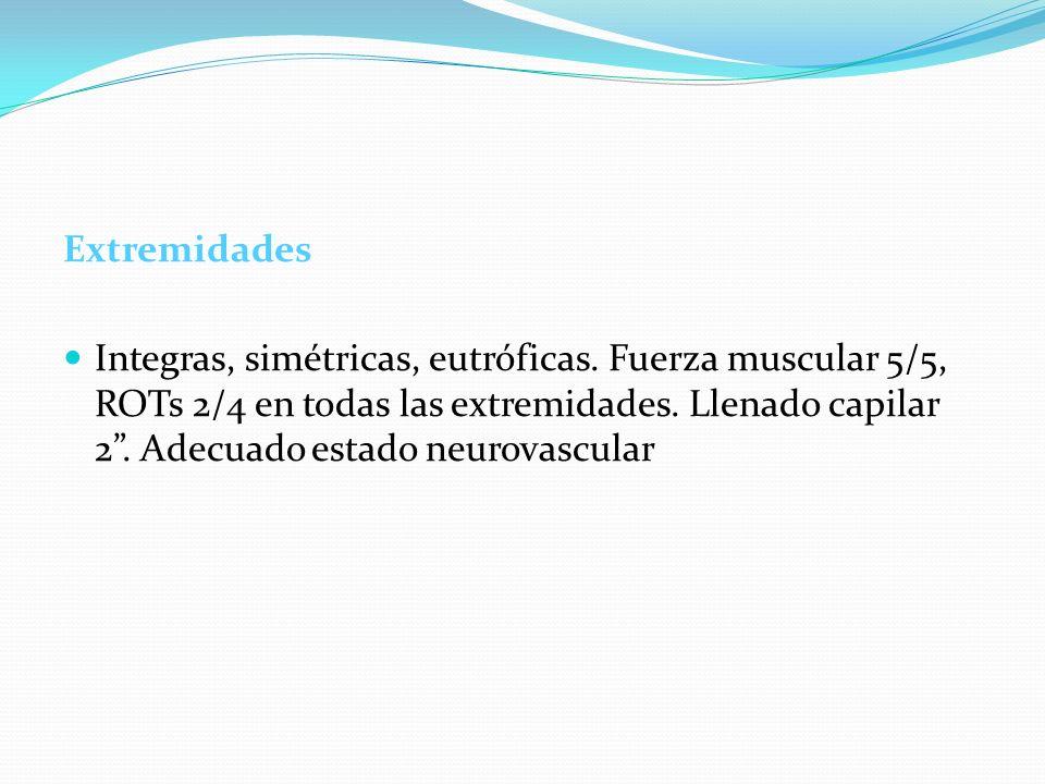 Extremidades Integras, simétricas, eutróficas. Fuerza muscular 5/5, ROTs 2/4 en todas las extremidades. Llenado capilar 2. Adecuado estado neurovascul
