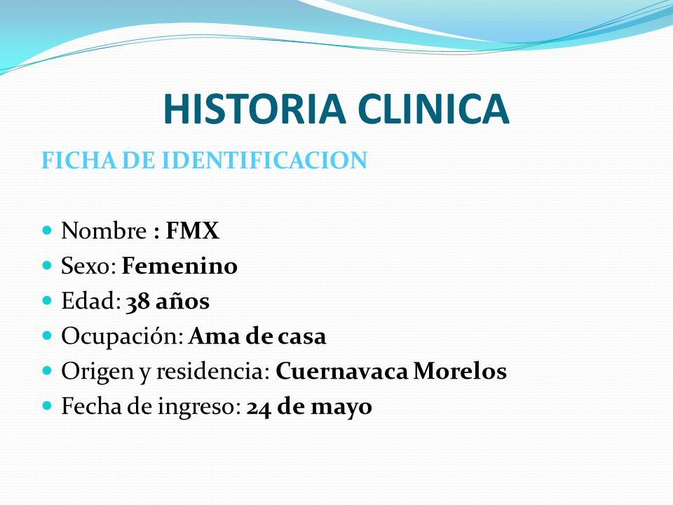 HISTORIA CLINICA FICHA DE IDENTIFICACION Nombre : FMX Sexo: Femenino Edad: 38 años Ocupación: Ama de casa Origen y residencia: Cuernavaca Morelos Fech