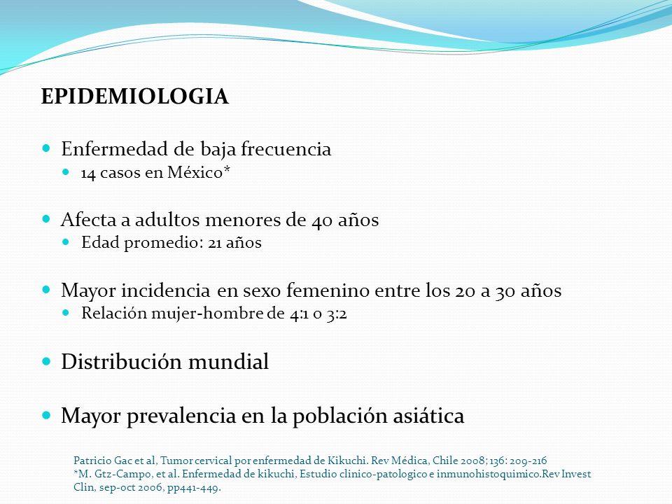 EPIDEMIOLOGIA Enfermedad de baja frecuencia 14 casos en México* Afecta a adultos menores de 40 años Edad promedio: 21 años Mayor incidencia en sexo fe