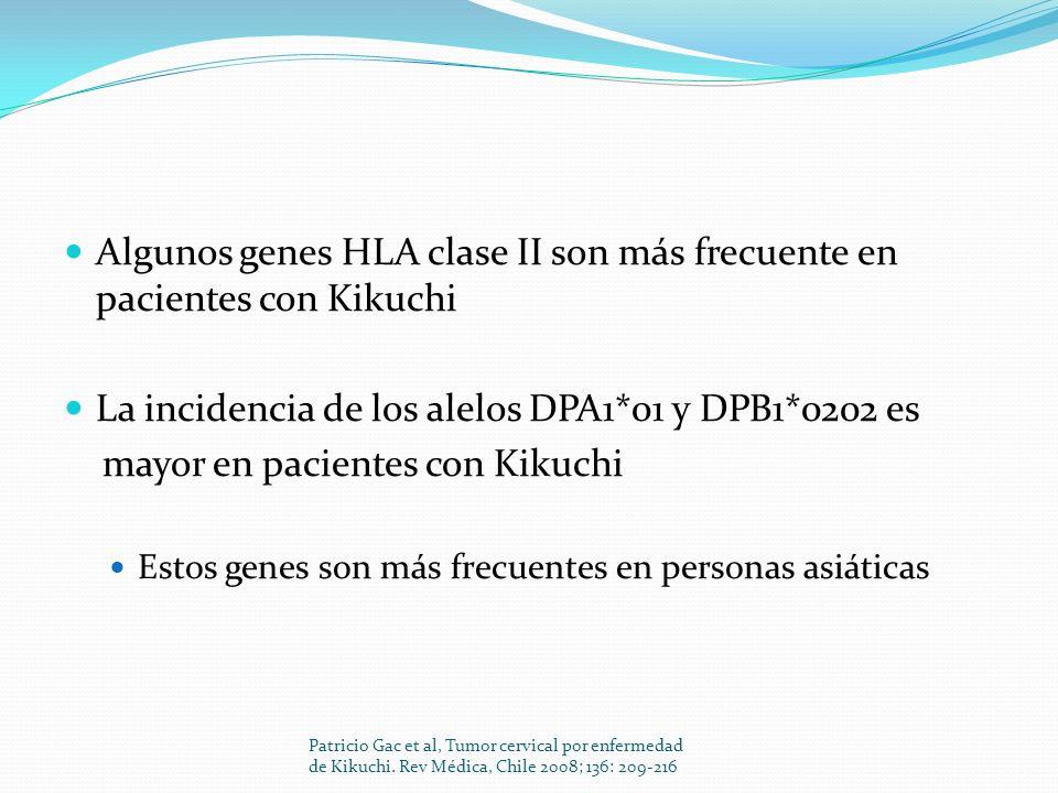 Algunos genes HLA clase II son más frecuente en pacientes con Kikuchi La incidencia de los alelos DPA1*01 y DPB1*0202 es mayor en pacientes con Kikuch