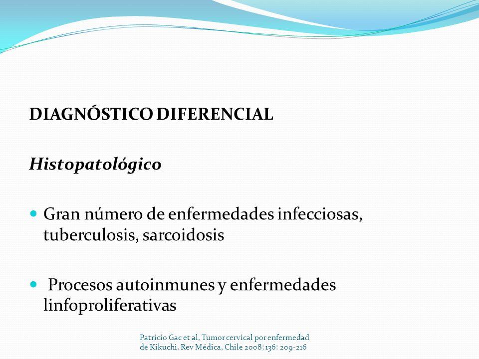 DIAGNÓSTICO DIFERENCIAL Histopatológico Gran número de enfermedades infecciosas, tuberculosis, sarcoidosis Procesos autoinmunes y enfermedades linfopr