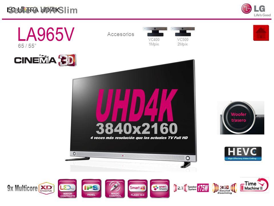 65 / 55 Serie 9 WR Slim Accesorios VC400 1Mpix VC500 2Mpix 4 veces más resolución que los actuales TV Full HD