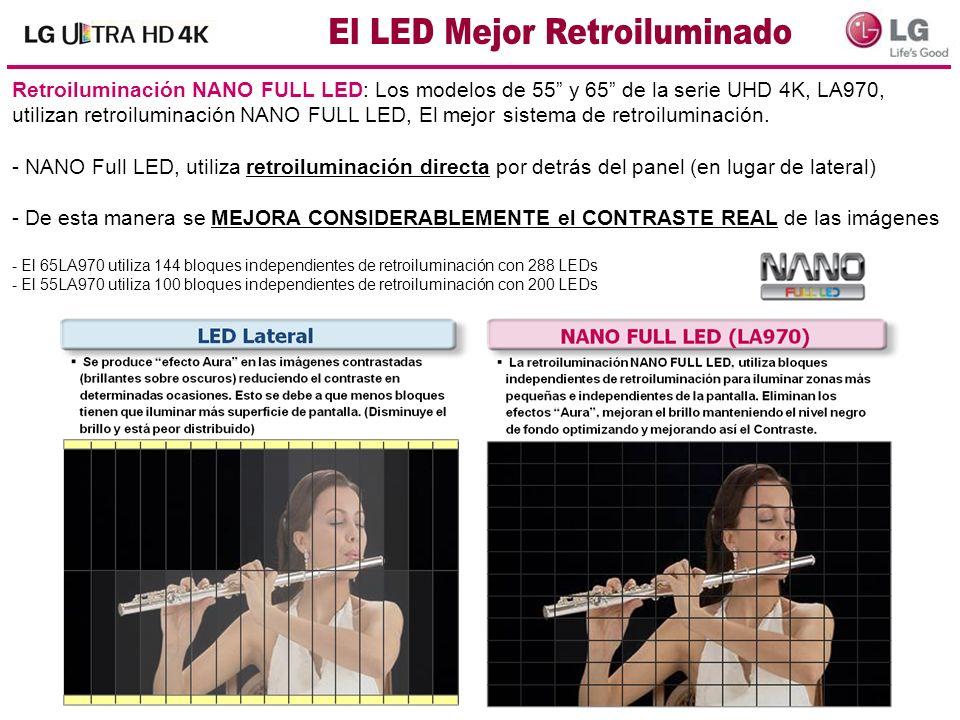 Retroiluminación NANO FULL LED: Los modelos de 55 y 65 de la serie UHD 4K, LA970, utilizan retroiluminación NANO FULL LED, El mejor sistema de retroil