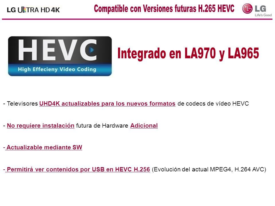 - Televisores UHD4K actualizables para los nuevos formatos de codecs de vídeo HEVC - No requiere instalación futura de Hardware Adicional - Actualizab