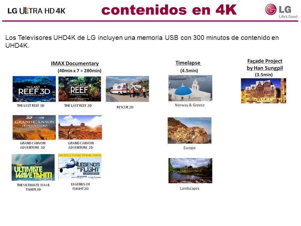 Los Televisores UHD4K de LG incluyen una memoria USB con 300 minutos de contenido en UHD4K.