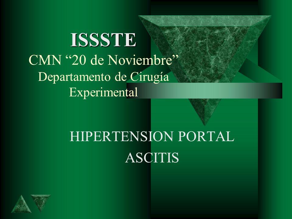 ISSSTE ISSSTE CMN 20 de Noviembre Departamento de Cirugía Experimental HIPERTENSION PORTAL ASCITIS
