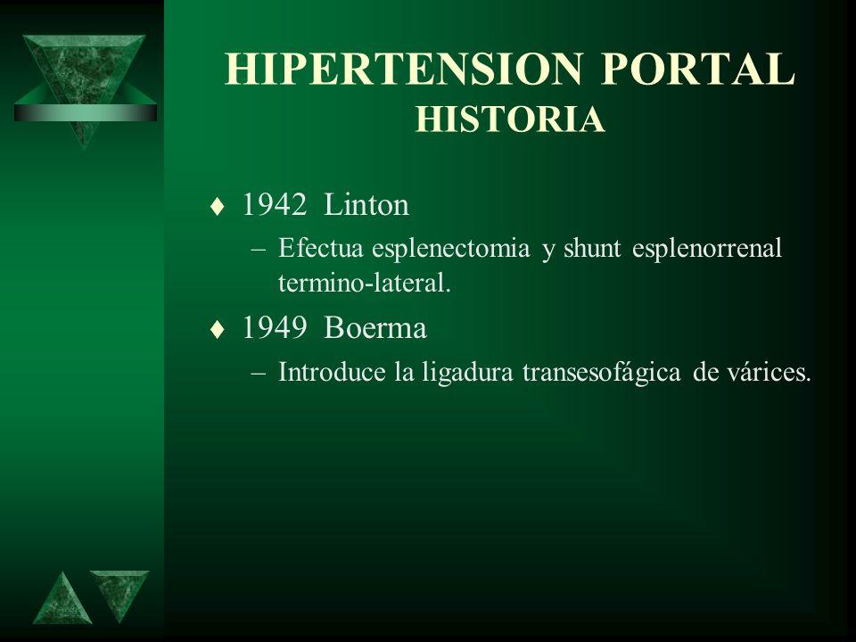 HIPERTENSION PORTAL HISTORIA 1942 Linton –Efectua esplenectomia y shunt esplenorrenal termino-lateral. 1949 Boerma –Introduce la ligadura transesofági
