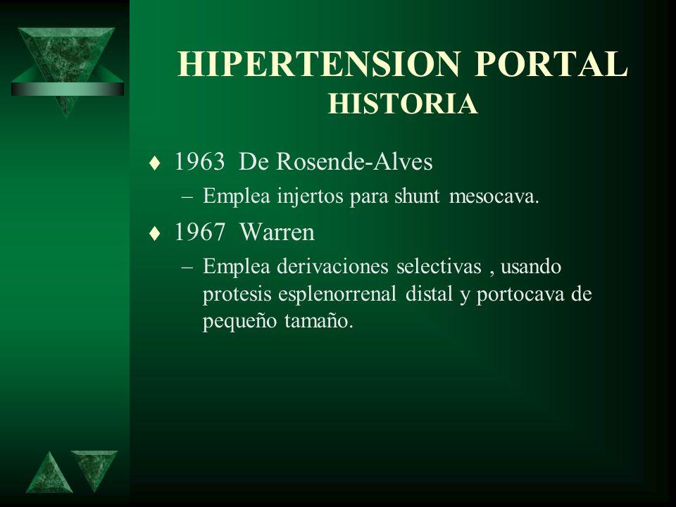HIPERTENSION PORTAL HISTORIA 1963 De Rosende-Alves –Emplea injertos para shunt mesocava. 1967 Warren –Emplea derivaciones selectivas, usando protesis