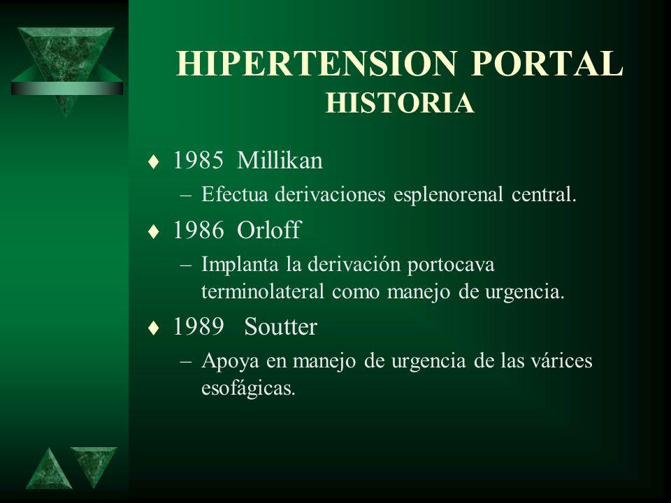 HIPERTENSION PORTAL HISTORIA 1985 Millikan –Efectua derivaciones esplenorenal central. 1986 Orloff –Implanta la derivación portocava terminolateral co