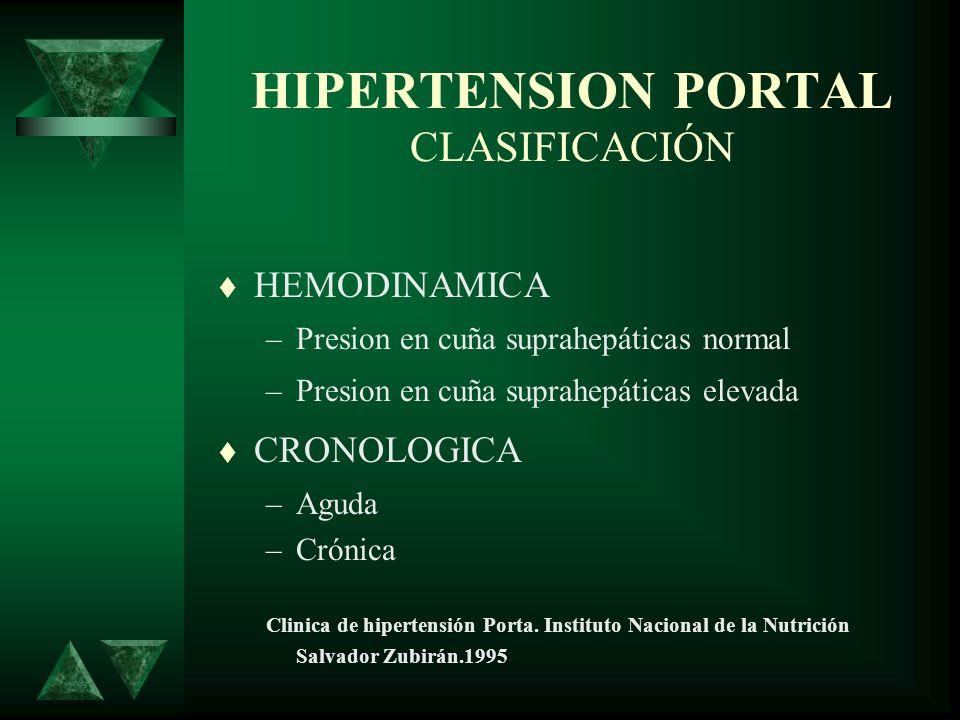 HIPERTENSION PORTAL CLASIFICACIÓN HEMODINAMICA –Presion en cuña suprahepáticas normal –Presion en cuña suprahepáticas elevada CRONOLOGICA –Aguda –Crón