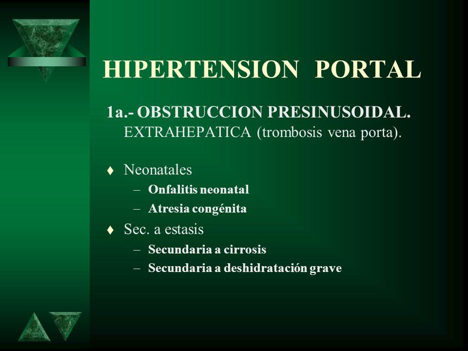HIPERTENSION PORTAL 1a.- OBSTRUCCION PRESINUSOIDAL. EXTRAHEPATICA (trombosis vena porta). Neonatales –Onfalitis neonatal –Atresia congénita Sec. a est