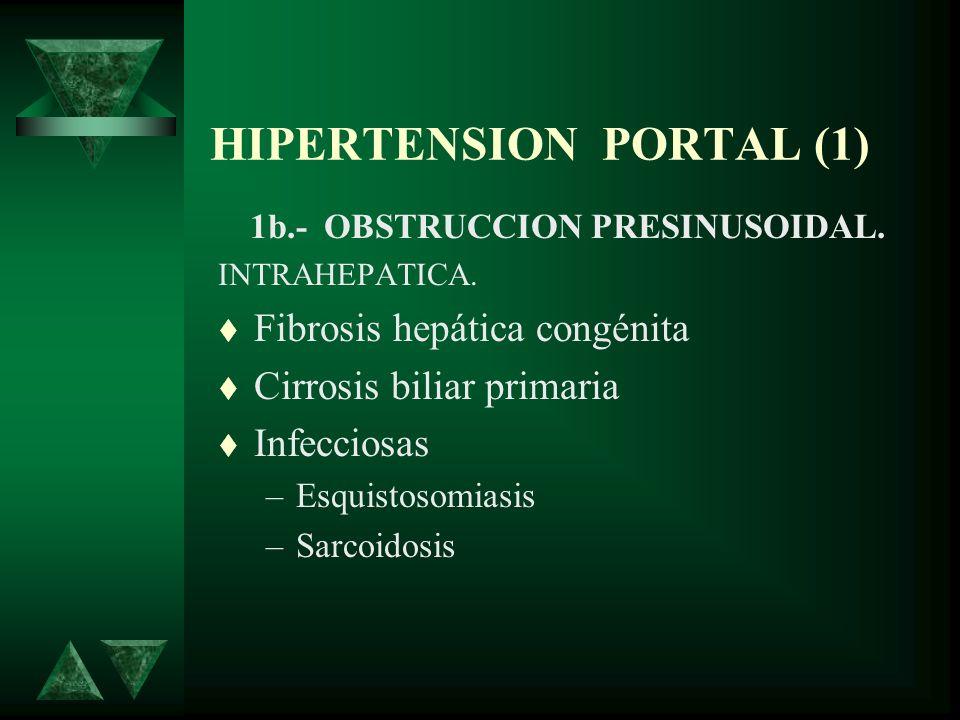 HIPERTENSION PORTAL (1) 1b.- OBSTRUCCION PRESINUSOIDAL. INTRAHEPATICA. Fibrosis hepática congénita Cirrosis biliar primaria Infecciosas –Esquistosomia