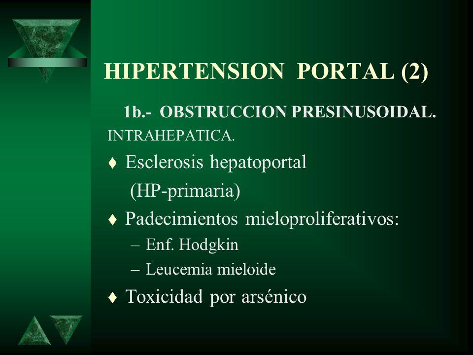 HIPERTENSION PORTAL (2) 1b.- OBSTRUCCION PRESINUSOIDAL. INTRAHEPATICA. Esclerosis hepatoportal (HP-primaria) Padecimientos mieloproliferativos: –Enf.