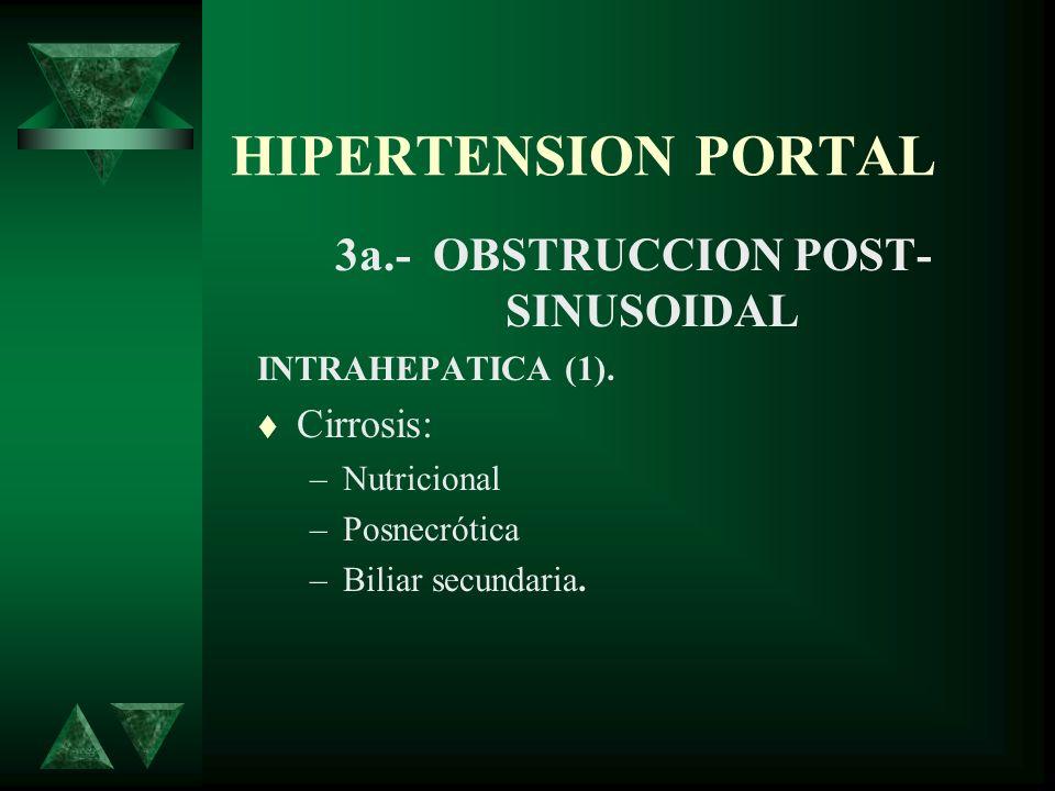 HIPERTENSION PORTAL 3a.- OBSTRUCCION POST- SINUSOIDAL INTRAHEPATICA (1). Cirrosis: –Nutricional –Posnecrótica –Biliar secundaria.