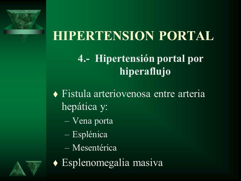 HIPERTENSION PORTAL 4.- Hipertensión portal por hiperaflujo Fistula arteriovenosa entre arteria hepática y: –Vena porta –Esplénica –Mesentérica Esplen