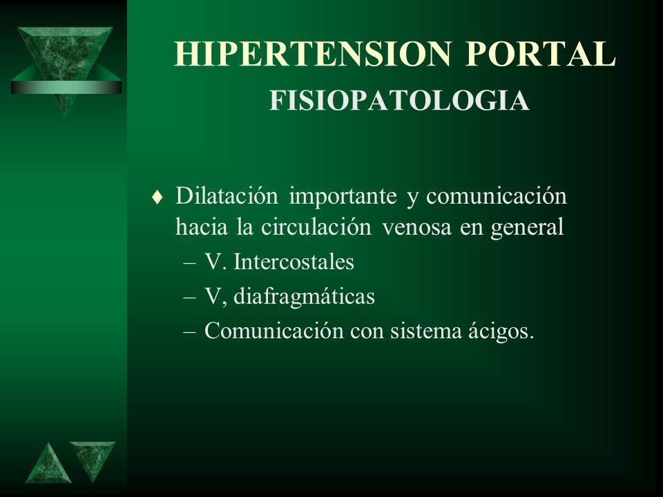 HIPERTENSION PORTAL FISIOPATOLOGIA Dilatación importante y comunicación hacia la circulación venosa en general –V. Intercostales –V, diafragmáticas –C