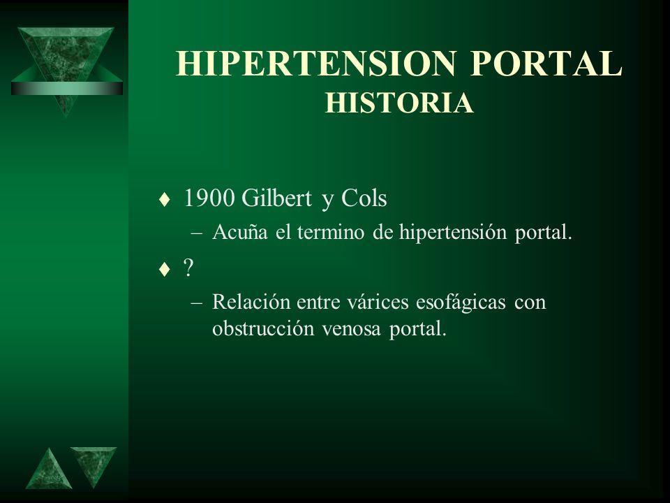HIPERTENSION PORTAL HISTORIA 1900 Gilbert y Cols –Acuña el termino de hipertensión portal. ? –Relación entre várices esofágicas con obstrucción venosa