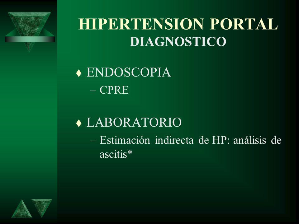 HIPERTENSION PORTAL DIAGNOSTICO ENDOSCOPIA –CPRE LABORATORIO –Estimación indirecta de HP: análisis de ascitis*