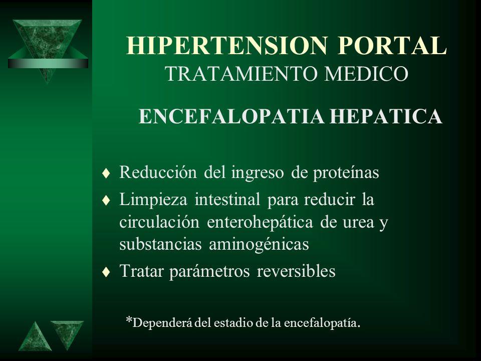 HIPERTENSION PORTAL TRATAMIENTO MEDICO ENCEFALOPATIA HEPATICA Reducción del ingreso de proteínas Limpieza intestinal para reducir la circulación enter